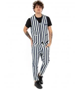 Outfit Uomo Completo Gilet Pantalone Righe Bianco Blu Rigato Casual GIOSAL