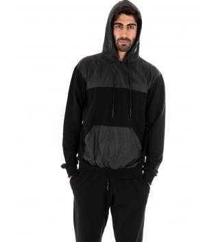 Completo Outfit Tuta Uomo Felpa Pantalone Tessuto Tecnico Tinta Unita Nero GIOSAL