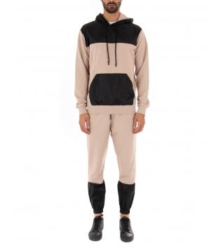 Completo Outfit Tuta Uomo Felpa Pantalone Tessuto Tecnico Bicolore Beige Nero GIOSAL