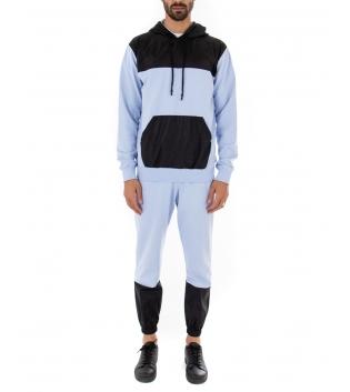 Completo Outfit Tuta Uomo Felpa Pantalone Tessuto Tecnico Bicolore Celeste Nero GIOSAL