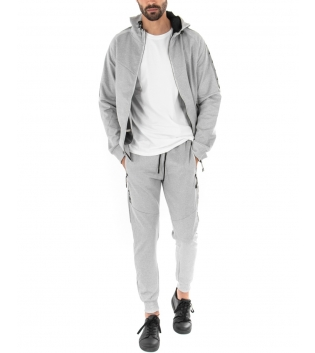 Outfit Uomo Completo Tuta Tinta Unita Felpa Zip Grigio Pantalone Elastico GIOSAL