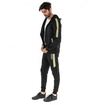 Outfit Uomo Completo Tuta Tinta Unita Felpa Zip Nero Giallo Pantalone Elastico GIOSAL