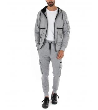 Completo Uomo Tuta Tinta Unita Grigia Cargo Felpa Zip Pantalone Casual Comfort GIOSAL