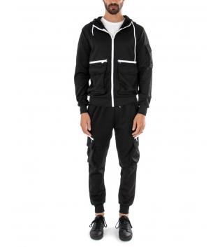 Completo Uomo Tuta Tinta Unita Nera Cargo Felpa Zip Pantalone Casual Comfort GIOSAL