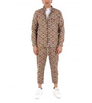 Outfit Uomo Camicia Pantalone Elastico Fantasia Etnica MOD Camel GIOSAL-Camel-S