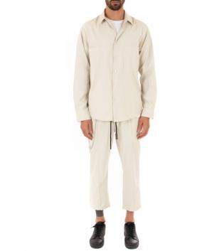 Outfit Uomo Completo Camicia Pantalone Tinta Unita Beige Casual Tessuto Leggero GIOSAL-Beige-S