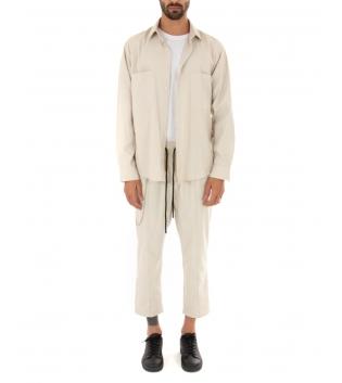 Outfit Uomo Completo Camicia Pantalone Tinta Unita Beige Casual Tessuto Leggero GIOSAL