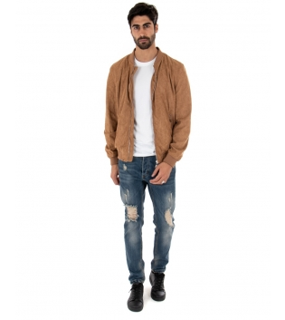 Outfit Uomo Completo Giubbotto Jeans Sabbiato Camel Casual GIOSAL-Camel-S