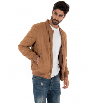 Outfit Uomo Completo Giubbotto Jeans Sabbiato Camel Casual GIOSAL