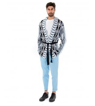 Outfit Uomo Cardigan Pantalone Tinta Unita Azzurro Casual GIOSAL-Azzurro-S