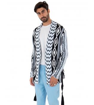 Outfit Uomo Cardigan Pantalone Tinta Unita Azzurro Casual GIOSAL