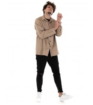 Outfit Uomo Camicia Pantalone Tinta Unita Camel Nero Casual GIOSAL-Camel-S