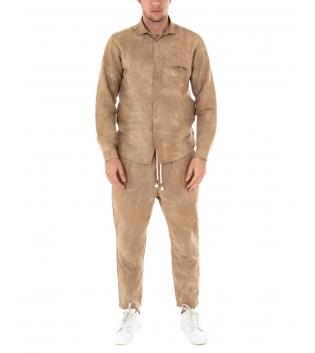 Completo Uomo Outfit Camicia Lino Pantalone Elastico Coulisse Beige GIOSAL