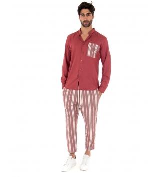 Completo Uomo Outfit Rosso Camicia Viscosa Taschino Pantalone Rigato Cotone GIOSAL-Rosso-S