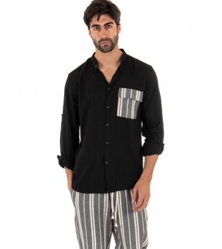 Completo Uomo Outfit Nero Camicia Viscosa Taschino Pantalone Rigato Cotone GIOSAL