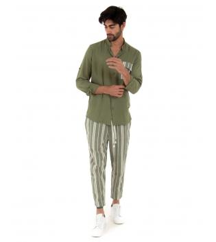 Completo Uomo Outfit Verde Militare Camicia Viscosa Taschino Pantalone Rigato Cotone GIOSAL-Verde Militare-S