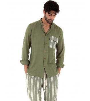 Completo Uomo Outfit Verde Militare Camicia Viscosa Taschino Pantalone Rigato Cotone GIOSAL