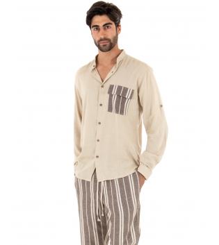 Completo Uomo Outfit Beige Camicia Viscosa Taschino Pantalone Rigato Cotone GIOSAL