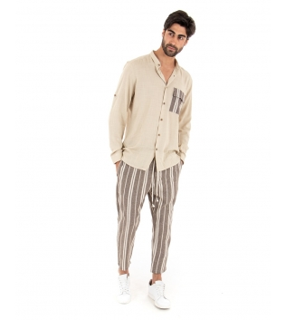 Completo Uomo Outfit Beige Camicia Viscosa Taschino Pantalone Rigato Cotone GIOSAL-Beige-S