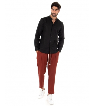 Completo Uomo Outfit Lino Camicia Collo Coreano Pantalone Catena Casual GIOSAL