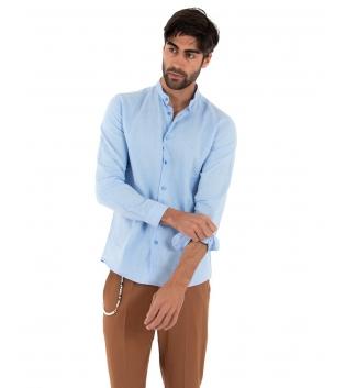 Completo Uomo Outfit Lino Camicia Collo Coreano Celeste Pantalone Catena Camel Casual GIOSAL