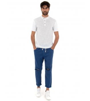 Completo Uomo Outfit T-Shirt Sfrangiata Bianca Pantalone Elastico Blu Royal Casual GIOSAL