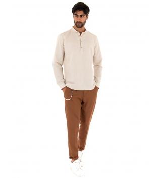 Completo Uomo Outfit Lino Camicia Beige Mezzo Bottone Pantalone Camel Catena GIOSAL-Camel-S