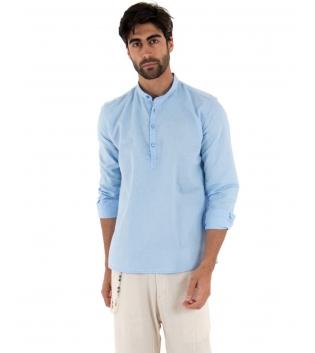 Completo Uomo Outfit Lino Camicia Celeste Mezzo Bottone Pantalone Beige Catena GIOSAL