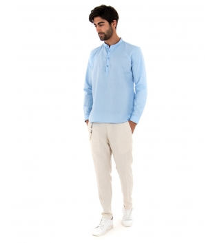 Completo Uomo Outfit Lino Camicia Celeste Mezzo Bottone Pantalone Beige Catena GIOSAL-Beige-S