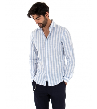 Completo Uomo Outfit Lino Camicia Rigata Celeste Pantalone Blu Catena GIOSAL