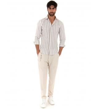 Completo Uomo Outfit Lino Camicia Beige Rigata Pantalone Catena Slim GIOSAL