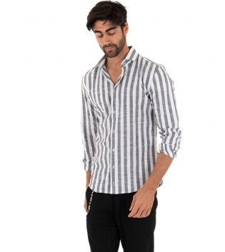 Completo Uomo Outfit Lino Camicia Nero Rigata Pantalone Catena Slim GIOSAL