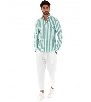 Outfit Uomo Completo Camicia Righe Larghe Verde Pantalone Bianco Elastico GIOSAL