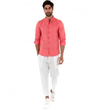 Outfit Uomo Completo Camicia Collo Coreano Corallo Pantalone Elastico Bianco GIOSAL