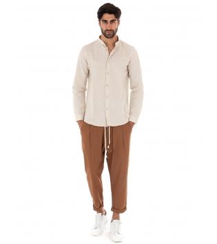 Outfit Uomo Completo Camicia Collo Coreano Beige Pantalone Elastico Camel GIOSAL