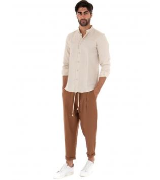 Outfit Uomo Completo Camicia Collo Coreano Beige Pantalone Elastico Camel GIOSAL-Beige-S