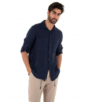 Completo Uomo Outfit Lino Camicia Blu Tasche Pantalone Beige Coulisse GIOSAL