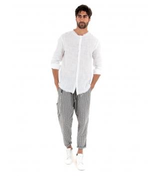 Outfit Uomo Camicia Sfrangiata Bianca Pantalone Quadri Nero Elastico Completo Casual GIOSAL