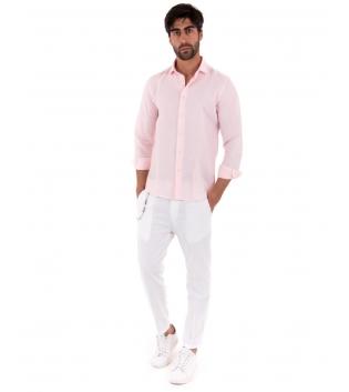 Completo Uomo Outfit Lino Camicia Rosa Colletto Francese Pantalone Bianco Catena Casual GIOSAL