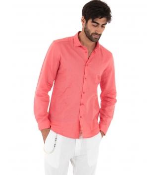 Completo Uomo Outfit Lino Camicia Corallo Colletto Francese Pantalone Bianco Catena Casual GIOSAL