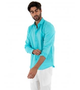Completo Uomo Outfit Lino Camicia Turchese Colletto Francese Pantalone Bianco Catena Casual GIOSAL