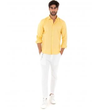 Completo Uomo Outfit Lino Camicia Giallo Colletto Francese Pantalone Bianco Catena Casual GIOSAL