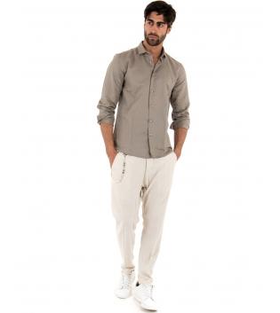 Completo Uomo Outfit Lino Camicia Fango Colletto Francese Pantalone Beige Catena Casual GIOSAL