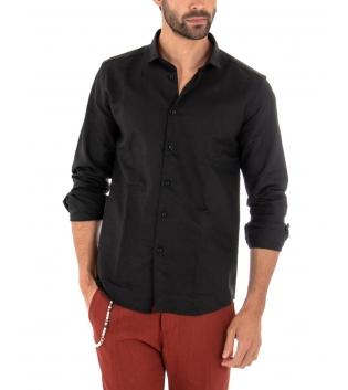 Completo Uomo Outfit Lino Camicia Nera Colletto Francese Pantalone Mattone Catena Casual GIOSAL