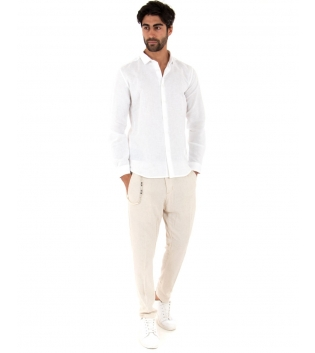 Completo Uomo Outfit Lino Camicia Bianca Colletto Francese Pantalone Beige Catena Casual GIOSAL