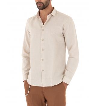 Completo Uomo Outfit Lino Camicia Beige Colletto Francese Pantalone Camel Catena Casual GIOSAL
