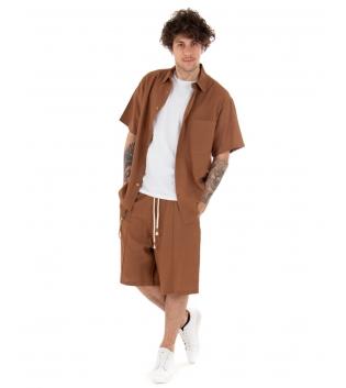 Outfit Uomo Completo Lino Camicia Bermuda Tinta Unita Camel Casual Over GIOSAL-Camel-S
