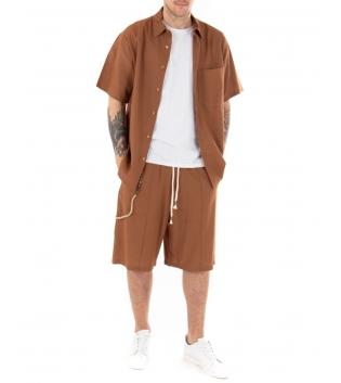 Outfit Uomo Completo Lino Camicia Bermuda Tinta Unita Camel Casual Over GIOSAL