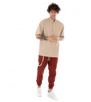 Outfit Uomo Camicia Casacca Pantalone Lino Casual Beige Mattone GIOSAL-Beige-S
