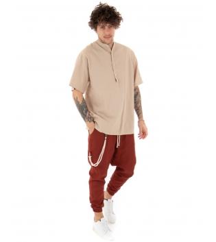 Outfit Uomo Camicia Casacca Pantalone Lino Casual Beige Mattone GIOSAL